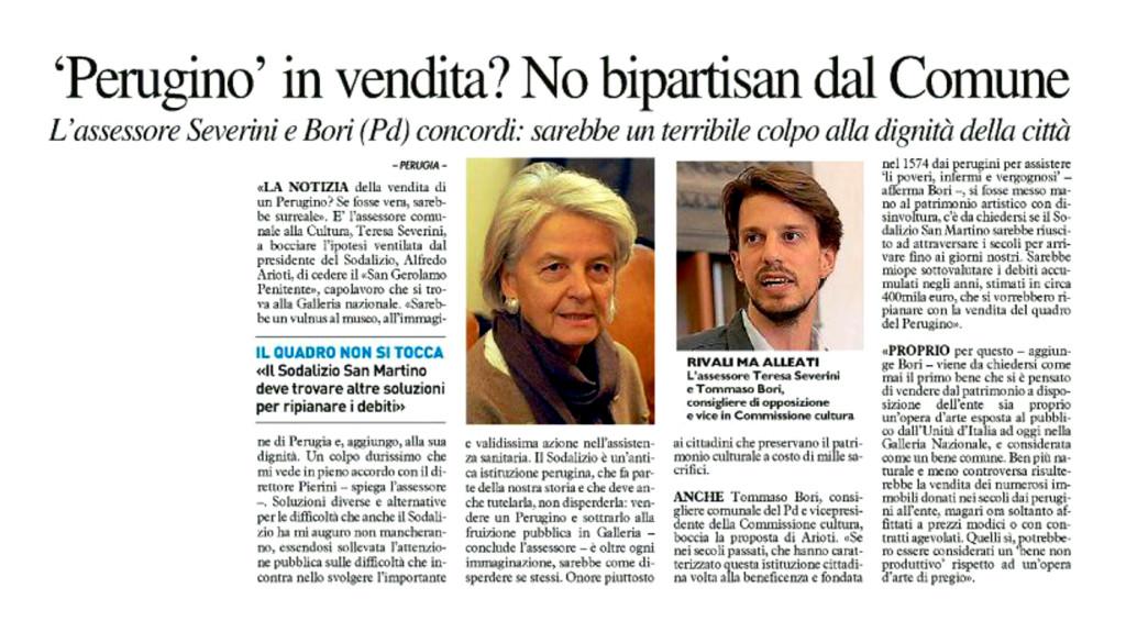 Perugino in vendita no bipartisan