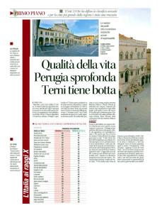 Perugia crollo classifica qualità vita